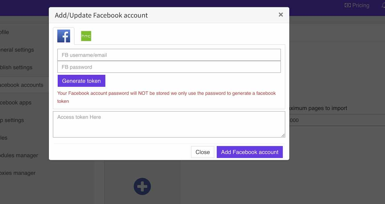 Add FB account pop-up window