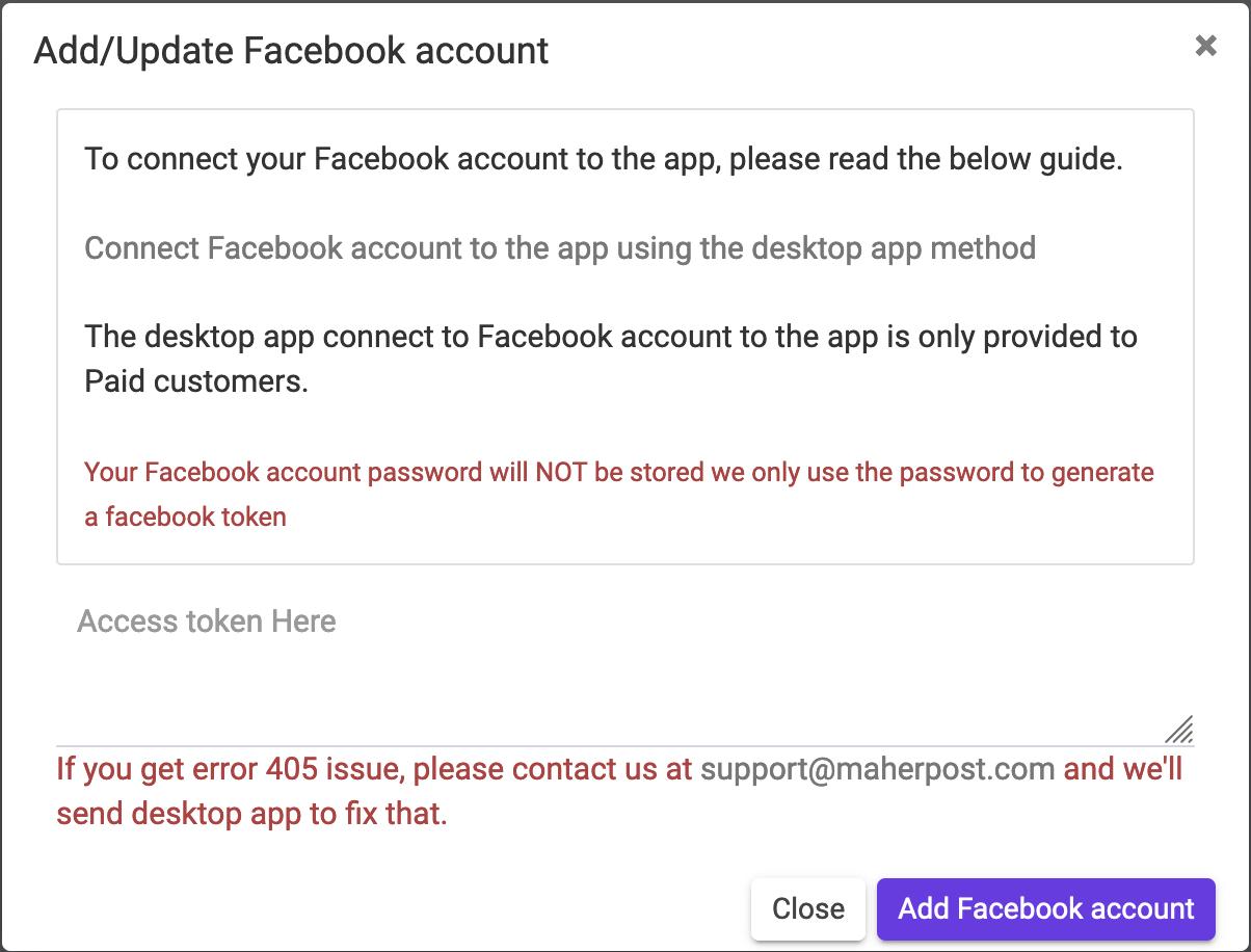 Add FB account to MaherPost