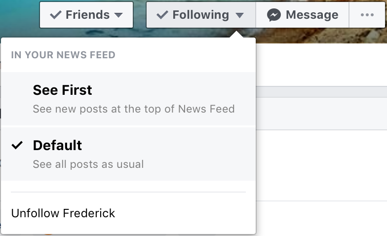 Facebook unfollow option hover